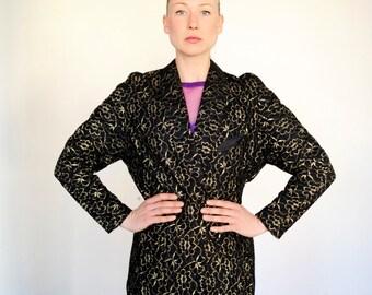 Vintage Black and Gold Lace Long Blazer Jacket