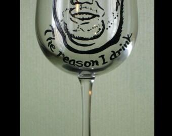 The reason I drink portrait wine glass