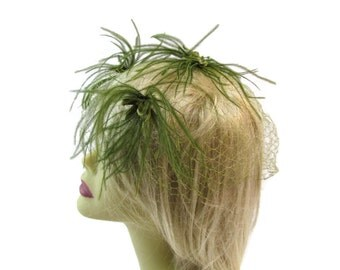 Green Fascinator Hat Feather Fascinators Derby Hats Birdcage Veil Womens Hats Veil Hat Wedding Fascinator Kentucky Derby Fascinator