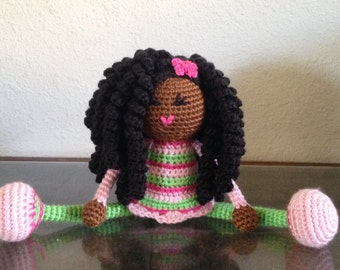 Crochet Plush Doll Long Natural Black Curls African American Curly Hair Colorful Eyes Green Pink Stuffed Toy Baby Girl Gift, MADE TO ORDER