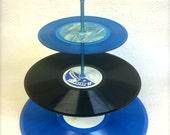 3 tier BLUE Vinyl Record Cupcake Stand Retro Cake Cupcake Stand