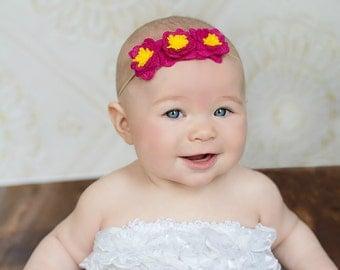 Helen - Handmade Pink Felt Flowers Headband