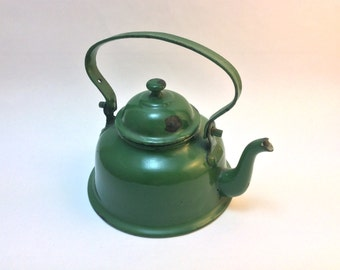 Small, vintage and cute dark green enamel water kettle