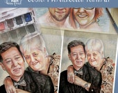 """6""""x6"""" - 8""""x10"""" Watercolor Custom Portrait, Older Couple Portrait, Man and Woman Painting, Husband and Wife art, Family Portrait"""