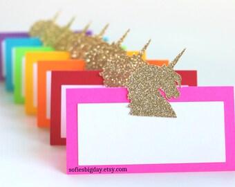 Unicorn Place Cards-Unicorn birthday, unicorn party, rainbow place cards, unicorn food labels, unicorn tent cards, rainbow party,rainbow