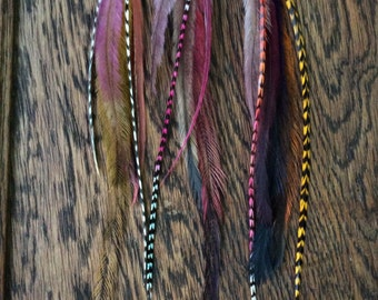 Long Feather Hair Extensions-SET OF 3//Hair Feather Extensions//Feather Hair Clip//Hair Feathers//Boho Hippie//Party Favours
