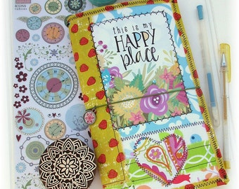 OOAK Fauxdori, Fabric Collage Midori, ScrappyDori, Traveler's Notebook, Free Insert!
