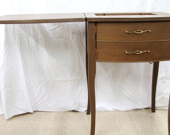 Vintage Sewing Machine Cabinet - The Stradivaro Line Sewing Machine Table - 1960s