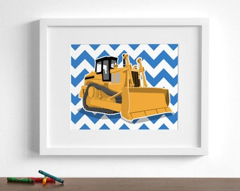 Construction art Children's art - Bulldozer construction pictures - pick your colors - Tractor wall art  - boys art prints - nursery art