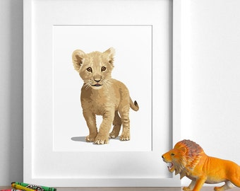 lion cub art print, lion nursery artwork, baby jungle animal print, safari childrens ilustration - modern nursery art