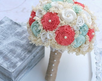 Wedding Bouquet - Mint, Coral // Bridal Bouquet, Mint Green, Wedding Flowers, Bridal Flowers, Sola Wood Flowers, Lace Flower, Flower Bouquet