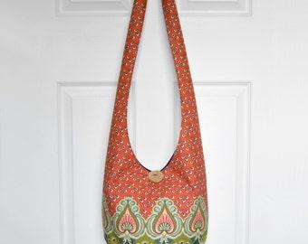 Hobo Bag Crossbody Bag Sling Bag Hippie Purse Boho Bag Bohemian Purse Slouch Purse Hippie Bag Hobo Purse Handmade Bag Floral Fabric Purse
