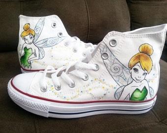 Disney Tinkerbell Hi Top Converse Custom Made Shoes