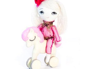 Pink doll, stuffed doll, doll, art doll, rag doll, plushie, softie, plush doll, toy doll, embroidered doll, cloth doll, fabric doll