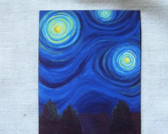 "Night sky blues 2.5"" x 3.2"" original art magnet"