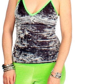 SALE XS Crushed Velvet Fitted Camisole Tank Grey Green