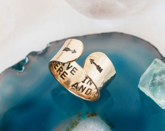 Live in the here and now. Inspirational ring. hand stamped secret message ring. Gold quote ring. Arrow ring. Inspirational gift. RTS RG001
