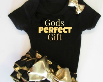 "Gold and Black Baby Girl ""Gods Perfect Gift"" Bloomer Set, Gold Glitter Bodysuit Bloomer Headband Outfit, Baby Girl Shower Gift Clothing Set"