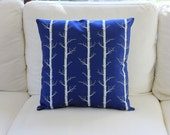 White Forest on Indigo, Pillow Slip Cushion Cover, White Tree Trunks | Made to Order | Ships in 4-8 weeks