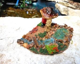 Fairy Garden House-Fairy Terrarium House/River/Lake/Fish/OOAK