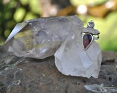 Rebirth Collection // Pink Opal & Clear Quartz Crystal Stelring Silver Gemstone Statement Ring // size 8
