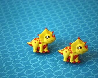 Dinosaur Earrings -- Dinosaur Studs, Triceratops, Dinos