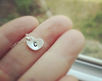 Heart Initial Necklace/ Monogram Necklace/ Initial Heart Necklace/ Initial Necklace /Hand Stamped Custom Necklace/ Personalized Gift