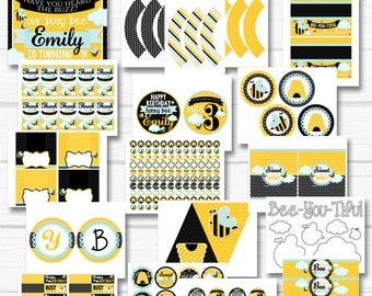 """Personalized """"Bumble Bee"""" Birthday Party or Baby Shower Digital Printable Party Package"""