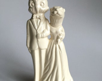 Owl groom and Otter bride Handmade ceramic Wedding Cake Topper