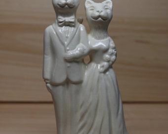 Cat Couple Handmade Ceramic Wedding Cake Topper