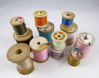 12 Vintage Wood Spools, Old Thread, Sewing Room Decor