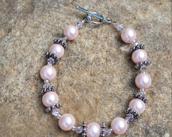 Light Pink Bracelet with Swarovski Crystals and Silver Accents #284