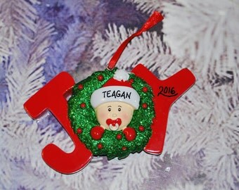 Personalized JOY Baby Christmas Ornament Red/Green