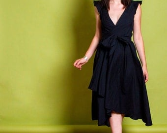 "Upcycled Black Cotton Wrap Dress w/ Flutter Sleeves, Deep V Neck, Hi Lo Hem, & Tie Belt-- ""NATALIE"""