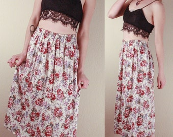 90's Floral SKIRT Summer Rose Print // White Floral Print  // Size Small