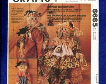 McCalls 6665 Rustic Scarecrow Rag Dolls & Home Decor Pattern Size 27 inch Doll UNCUT