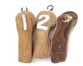 Leather Golf Club covers 1,2, Golf Club Socks, Fur Leather Golf Club Cover, Gift For Husband, Dad, Golf Equipment,