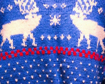 Vintage 40s Hand Knit Blue Wool Sweater with White Reindeer and Red Accents / Christmas Sweater