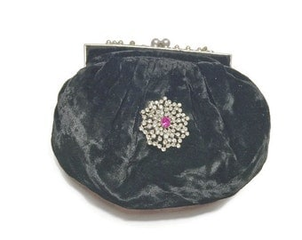 Black Velvet Evening Clutch National Recovery Act Label NRA 1930s