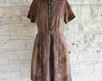 50's Dress L'Aiglon Vintage Dress Medium 50's Casual Dress Brown full Skirt Mid Century Dress Size 9