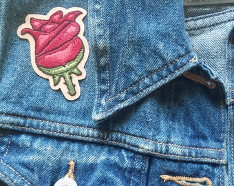 Fuschia Rosebud Iron On Hand Embroidered Flower Patch • Hand Embroidery Floral Rose Applique