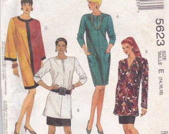 Loose Fitting Dress or Tunic and Skirt Pattern McCalls 5623 Sizes 14, 16, 18 Uncut
