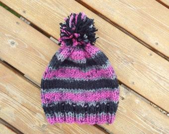 Fair Isle knit hat, Knit hat, Crochet Hat, purple, gray, black, stipes, bobble hat, pom pom hat, herringbone hat