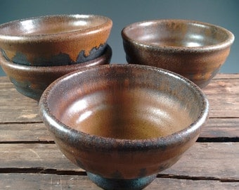 Small Wood Fired Stoneware Bowl - condiments - tapas - mezze - appetizer - serving - prep - handmade - pottery - Made in DC / Fired in VA