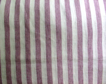 Mallow-off White Wide Stripes,Pale Mauve,Colores Malva,Pure Linen,Plain Weave Linen Fabric,Garment Weight,Softened,Prewashed,DIY projects
