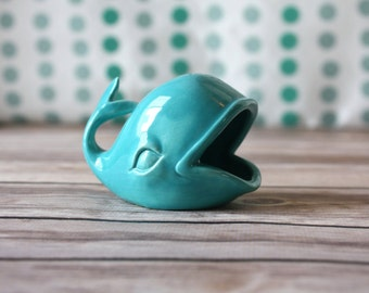 Whale Ring Holder - Turquoise Ring Dish - Engagement Ring / Wedding Ring Holder - Vintage Style Ceramics - Engagement Gift / Bridal Shower