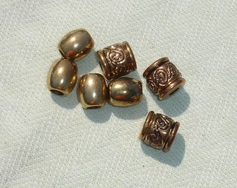 Unique Golden Large Hole Beads -  Jewelry Making Supplies - 7 pcs