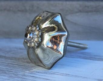 Mercury Glass Knob Drawer Pull Knob Cabinet Knob Dresser Knob Rustic