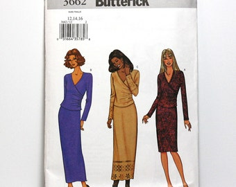 Uncut Sewing Pattern, Butterick 3662, Ladies Wrap Front Top and Skirt, Sizes 12, 14, 16, Two Piece Dress, Classic Fashion