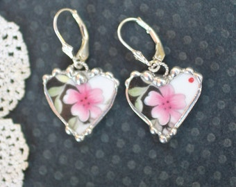 Earrings, Broken China Jewelry, Broken China Earrings, Pink and Black Floral, Dangle Earrings, Sterling Sliver, Soldered Jewelry